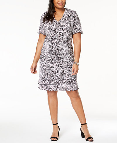 Connected Plus-Size Printed Tiered Dress