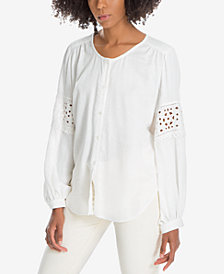Max Studio London Cotton Eyelet Sleeve Peasant Top, Created for Macy's