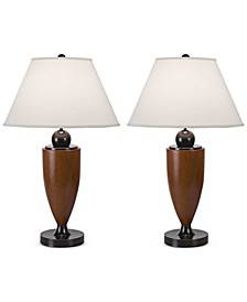 Pacific Coast Set of 2 Wood Column Table Lamp