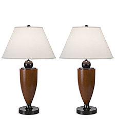 Pacific Coast Set of 2 Wood Column Table Lamp
