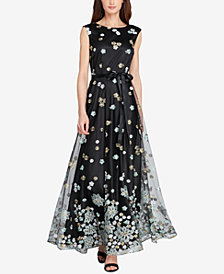 Tahari ASL Floral-Embroidered Mesh Gown