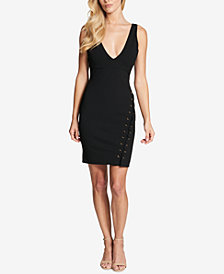 GUESS V-Neck Lace-Up Sheath Dress