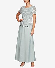 Alex Evenings Plus Size Glitter Lace & Satin Gown