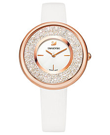 Swarovski Women's Swiss Crystalline Pure White Leather Strap Watch 34mm