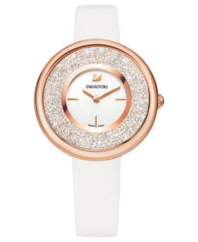 Swarovski Women's Swiss Crystalline Pure White Leather Strap Watch 34mm