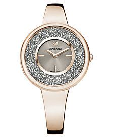 Swarovski Women's Swiss Crystalline Pure Gold-Tone Stainless Steel Bangle Bracelet Watch 34mm