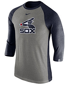 Nike Men's Chicago White Sox Tri-Blend Three-Quarter Raglan T-shirt