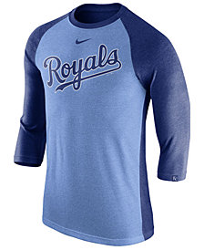 Nike Men's Kansas City Royals Tri-Blend Three-Quarter Raglan T-shirt