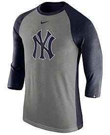 Nike Men's New York Yankees Tri-Blend Three-Quarter Raglan T-shirt