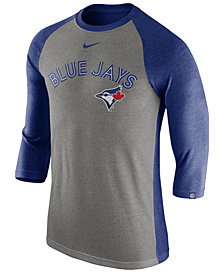 Nike Men's Toronto Blue Jays Tri-Blend Three-Quarter Raglan T-shirt