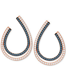 "Swarovski Two-Tone Pavé Double-Row Oval 1"" Hoop Drop Earrings"
