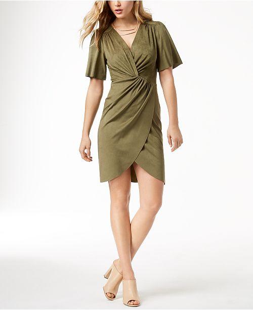 kensie Faux-Suede Twist-Detail Dress - Dresses - Women - Macy\'s