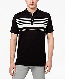 Michael Kors Men's Stripe Tile-Jacquard Mercerized Pima Cotton Polo