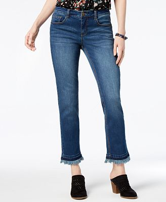Style & Co Frayed Slim-Leg Jeans, Created for Macy's