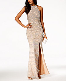 Adrianna Papell Beaded Slit Halter Gown