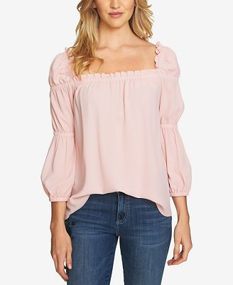 CeCe Square-Neck Blouson Top