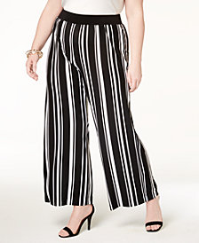 I.N.C. Plus Size Striped Wide-Leg Pants, Created for Macy's