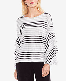 Vince Camuto Striped Tiered-Sleeve Top