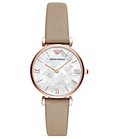 Emporio Armani Women's Brown Leather Strap Watch 32mm