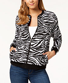 Alfred Dunner Petite Upper East Side Printed Tiered-Panel Bomber Jacket