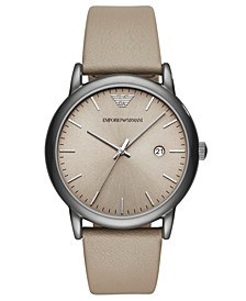 Men's Taupe Leather Strap Watch 43mm