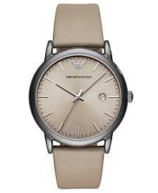 Emporio Armani Men's Taupe Leather Strap Watch 43mm