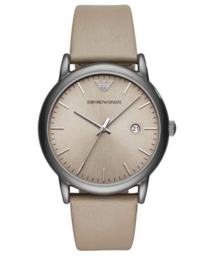 ARMANI COLLEZIONI Three Hand Black Ip Stainless Steel Watch, 43 Mm in Taupe