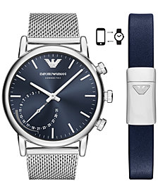 Emporio Armani Men's Connected Stainless Steel Mesh Bracelet Hybrid Smart Watch 43mm Gift Set
