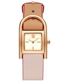 Tory Burch Women's Thayer Beige & Blush Leather Strap Watch 25x39mm