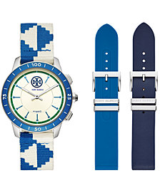 Tory Burch Women's ToryTrack Collins Blue & White Fabric Strap Hybrid Smart Watch 38mm Gift Set
