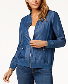 Alfred Dunner Petite Chambray Bomber Jacket