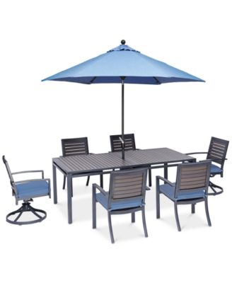 """Harlough II 7-Pc. Outdoor Dining Set (84"""" x 42"""" Dining Table, 4 Dining Chairs and 2 Swivel Rockers) with Sunbrella® Cushions, Created for Macy's"""