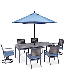 "Harlough II 7-Pc. Outdoor Dining Set (84"" x 42"" Dining Table, 4 Dining Chairs and 2 Swivel Rockers) with Sunbrella® Cushions, Created for Macy's"