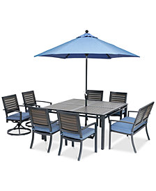 "Harlough II Outdoor 8-Pc. Dining Set (62"" Square Dining Table, 4 Dining Chairs, 2 Swivel Rockers and 1 52' Dining Bench) with Sunbrella® Cushions, Created for Macy's"