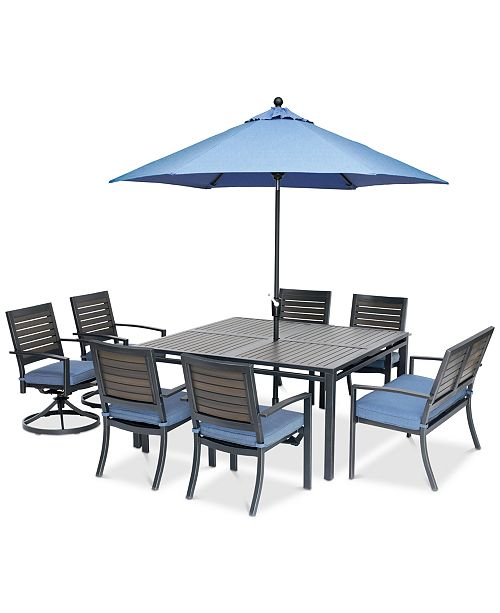 Harlough Ii Outdoor 8 Pc Dining Set 62 Square Dining Table 4 Dining Chairs 2 Swivel Rockers And 1 52 Dining Bench With Sunbrella Cushions