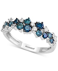EFFY® Shades of Bleu  Diamond Cluster Band (3/4 ct. t.w.) in 14k White Gold