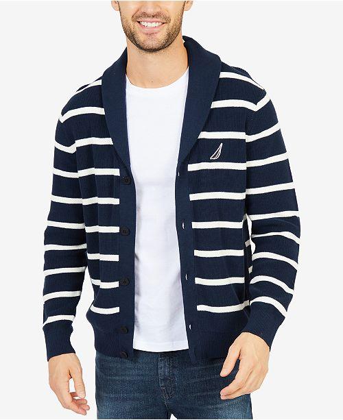 ae7af800464e Nautica Men s Stripe Shawl-Collar Cardigan   Reviews - Sweaters ...