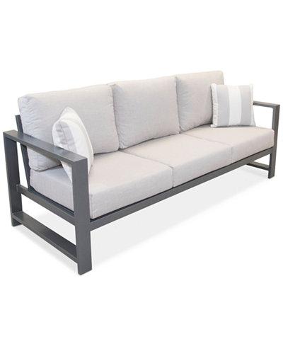 Aruba Grey Aluminum Outdoor Sofa with Sunbrella® Cushion, Created for Macy's