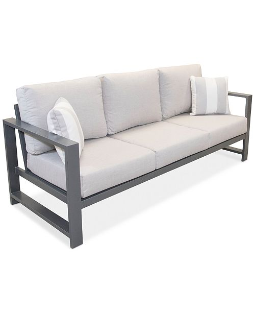 Furniture Aruba Grey Aluminum Outdoor Sofa With Sunbrella Reg Cushion
