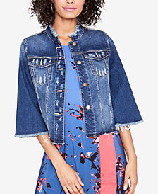 RACHEL Rachel Roy Ripped Denim Jacket, Created for Macy's