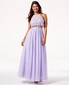 Teeze Me Juniors' Glitter Mesh Illusion Gown, Created for Macy's