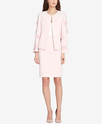 Tahari Asl Floral Applique Skirt Suit Wear To Work Women Macy S