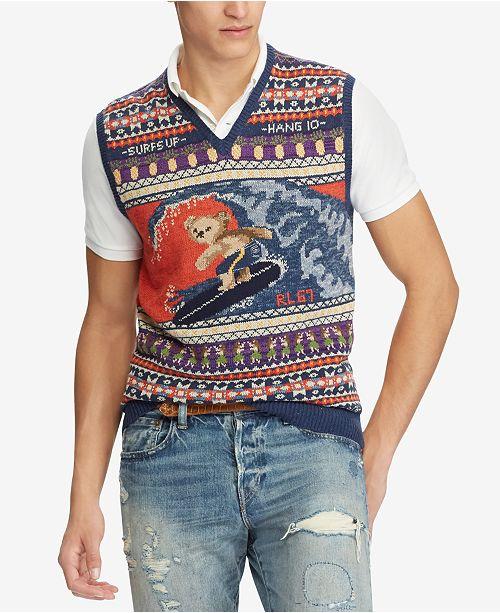 c8d99e70a81a Polo Ralph Lauren Men s Polo Bear Vest   Reviews - Sweaters - Men ...