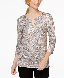 MSK Printed Rhinestone & Metallic Top