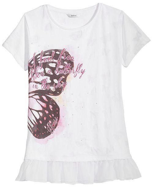 f82a8241d22e91 GUESS Butterfly-Print T-Shirt, Big Girls & Reviews - Shirts & Tees ...