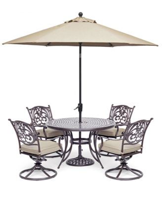"Chateau Outdoor Aluminum 5-Pc. Set (48"" Round Dining Table & 4 Swivel Rockers) with Sunbrella® Cushions, Created For Macy's"