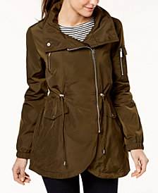 French Connection Asymmetrical Cinched-Waist Anorak