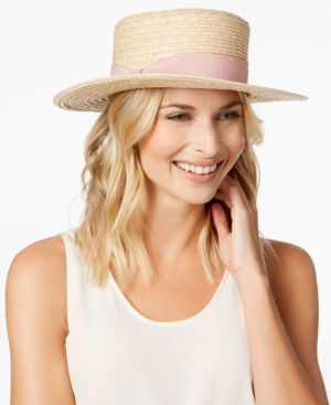 Nine West Woven Boater Hat 5627747
