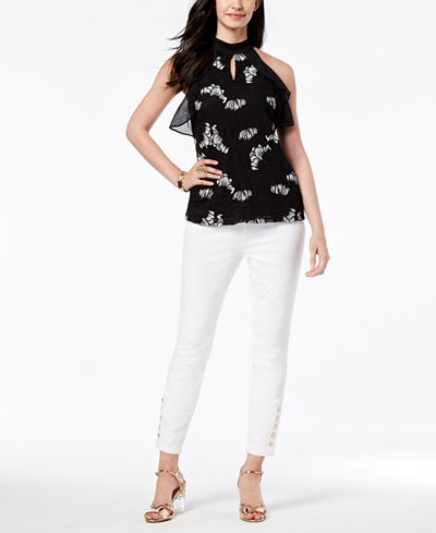 Thalia Sodi Embroidered Halter Top & Jeggings, Created for Macy's