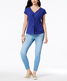 Thalia Sodi Lace-Front Top & Pull-On Jeggings, Created for Macy's